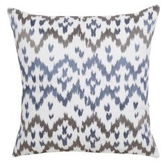 Ikat Pillow - blue, brown and white