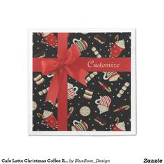 Shop Cafe Latte Christmas Coffee Red Ribbon Napkins created by BlueRose_Design. Cloth Napkins, Paper Napkins, Paper Plates, Christmas Napkins, Christmas Coffee, Ecru Color, Cocktail Napkins, Vinyl Lettering, Red Ribbon