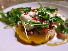 Roasted Squash, Burrata Cheese, Arugula, Pomegranate & Wild Honey Salad