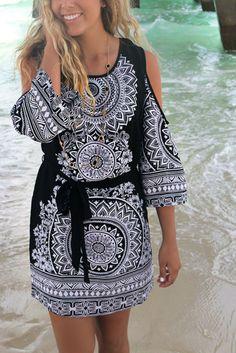 Bermuda Black And White Open Shoulder Mandala Print Dress