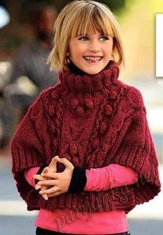 Bergère de France - 473 Poncho sweater - Catalogue - yarns and patterns for knitting and crochet Knitting For Kids, Crochet For Kids, Baby Knitting, Crochet Baby, Knit Crochet, Knitting Projects, Pull Poncho, Poncho Sweater, Kids Poncho