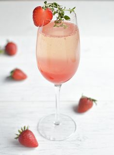 Strawberry Thyme Champagne Cocktail