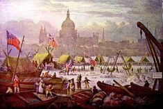 The last ever Thames Frost Fair in 1814. Between 1600 and 1814, it was not uncommon for the River Thames to freeze over for up to two months at time. These Frost Fairs would have been quite a spectacle, full of hastily constructed shops, pubs, ice skating rinks... everything that you would expect in the crowded streets of London but on ice!