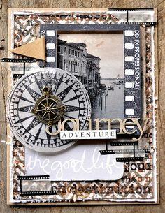Card by Belinda Spencer using Darkroom Door 'Compass' Eclectic Stamp, Venetian Photochips & Film Frame Stamp.