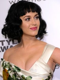 We love Katy Perry's flirty, retro style — the bangs are very Bettie Page. #hairstyles #bob