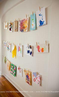 Kid's art projects display