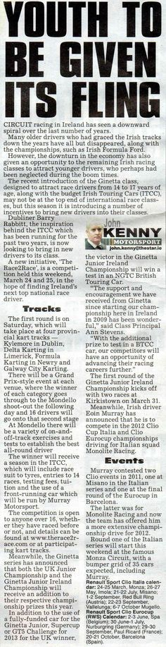 The Irish Daily Star features The Race 2 Race in its Motorsport column
