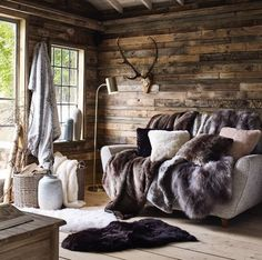 Faux Fur Range House of Fraser Cabin Design, House Design, Cabin In The Woods, Cabin Interiors, House Of Fraser, Interior Design Living Room, Decoration, Home Decor, Faux Fur
