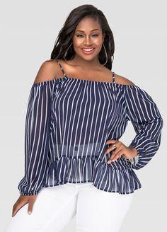 2fcad3bc25b Striped Cold Shoulder Peasant Top-Plus Size Shirts-Ashley
