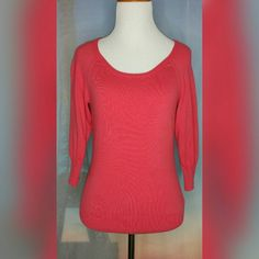 PINK SWEATER Size XS. Pink. 3/4 sleeve. Round neck. Black zipper closure.  Minimal pilling. Scoop neck. Condition: Good. The smallest ink stain on sleeve (see picture). 80% Cotton/17% Nylon/3% Spandex. The Limited Sweaters
