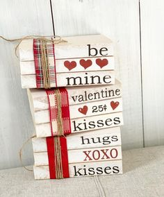 Your place to buy and sell all things handmade Valentines Day Decor / Stamped books / Valentines / Farmhouse decor Valentine kisses / Tiered tray d Funny Valentine, Roses Valentine, Valentine Day Love, Valentine Day Crafts, Holiday Crafts, Holiday Fun, Saint Valentine, San Valentin Ideas, Saint Valentin Diy