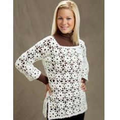 Dainty Daisy Pullover | AllFreeCrochet.com...This is really soft and pretty.Can you believe it's rated easy?!