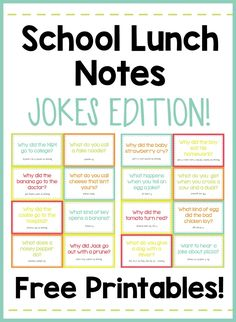 Your kids will LOVE opening their lunch and finding these silly jokes! These free printables make it so easy! Your kids will LOVE opening their lunch and finding these silly jokes! These free printables make it so easy! Lunchbox Notes For Kids, Kids Lunch For School, School Snacks, Funny Jokes For Kids, Silly Jokes, Kid Jokes, Short Jokes For Kids, Free Jokes, Funny Memes