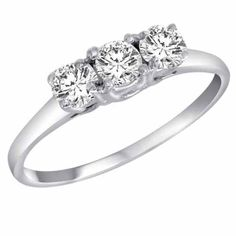 DivaDiamonds 14K White Gold 3 Three Stone Round Brilliant Diamond Ring (1/2 cttw) $290.00