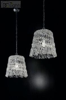 LUCE da VIVERE Glossy Lampe Pendelleuchte Murano Glas Klar Chrom