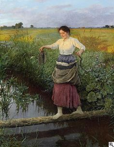 Carl von Bergen: Bauernmädchen, über einen Bach balancierend aus unserer Rubrik: Gemälde des 19. Jahrhunderts