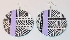 African Tribal Pattern Inspired Hand Painted Earrings by Astella19, $16.00
