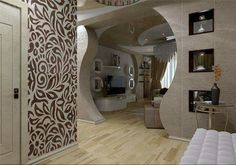 Living Room Partition Design, Room Partition Designs, Ceiling Decor, Ceiling Design, Room Interior Design, Interior Decorating, Door Design, House Design, Plafond Design