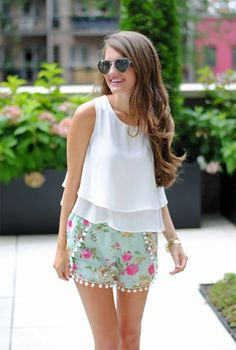 pompom shorts and white dressy top