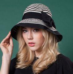 UV packable bow bucket hat for women stripe design