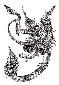 Garuda is a king of bird and Naga is a magic snake dragon in Thai original fantasy history book. Final pic garuda and naga Cambodian Tattoo, Khmer Tattoo, Cambodian Art, Thailand Tattoo, Thailand Art, Thai Tattoo, Hanuman Tattoo, Balinese Tattoo, Sak Yant Tattoo