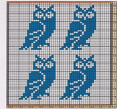 Potholder Eagle Owls Here I offer only the chart pattern for a potholder. I am assuming that you are familiar with the double-faced knitting . Cross Stitch Owl, Cross Stitch Alphabet, Cross Stitch Charts, Cross Stitch Designs, Cross Stitch Embroidery, Cross Stitch Patterns, Owl Knitting Pattern, Knitting Charts, Loom Knitting