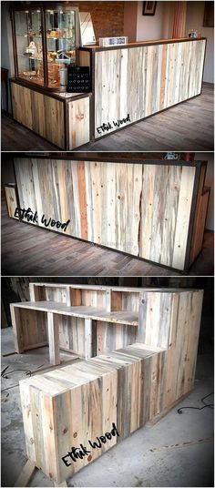 Are you planning to open a new shop or a new store and searching for best wooden furniture for it than, craft this beautiful and useful shop counter made with pallets wood. This wood furniture will save your money as you can easily craft this project at a cheap price and after crafting this counter you can also invest the saved money in your other projects.
