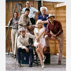 "Marilyn Monroe with Montgomery Clift,Clark Gable,Eli Wallace,director John Huston and Arthur Miller in ""The Misfits"" in 1961."