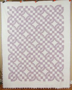 "OUTSTANDING Vintage 30's ""Oklahoma Dogwood"" Sawtooth Fan Antique Quilt ~RARE!"