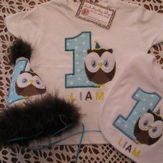 Owl, Personalized  Appliqued First Birthday Hat, Shirt and Bib Set | sockmonkeyshop - Children's on ArtFire