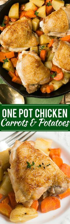 This recipe for one pot braised chicken thighs with carrots and potatoes combines seared chicken and tender vegetables in a single dish that makes for an easy and healthy dinner.