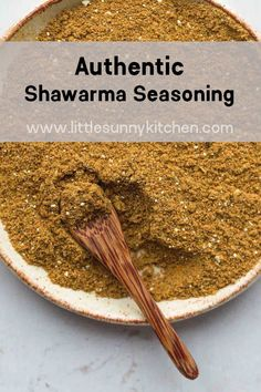 Authentic Shawarma seasoning blend, just the way it's made in the Middle East. It's so fragrant, delicious, and easy to make. The perfect spice for your meal! Shawarma Sauce, Shawarma Seasoning, Shawarma Spice Mix Recipe, Homemade Seasonings, Homemade Spices, Homemade Spice Blends, Spice Mixes, Seasoning Mixes, Desert Recipes