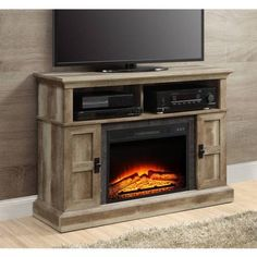 Whalen Barston Media Fireplace For Tv S Up To 70 Multiple Finishes In 2019 Fireplace Console Media Fireplace Fireplace Console Media Storage