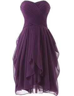 Dress U Womens Ruched Bridesmaid Dress Short Prom Dresses Burgundy US 22W