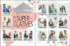 Sabria, LAYOUT, I really like this twist on superlatives, with the polaroid pict… Yearbook Superlatives, Senior Yearbook Ads, Teaching Yearbook, Yearbook Staff, Yearbook Pages, Yearbook Spreads, Yearbook Covers, High School Yearbook, Yearbook Theme