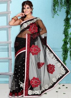 Black Designer Border Work Saree  Check out this page now :-http://www.ethnicwholesaler.com/sarees-saris
