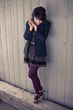 Gah! I love purple tights! And this floral dress looks beautiful with the blazer.