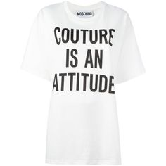 Moschino printed loose fit T-shirt (€220) ❤ liked on Polyvore featuring tops, t-shirts, shirts, tees, white, tee-shirt, loose white shirt, loose t shirt, white crew neck shirt and white t shirt