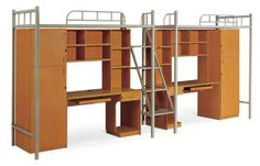 Modern Metal Bunk Bed with Stairs, Wardrobe,Bookcase and Study Desk $340~$350