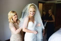 Getting ready with mom. Dress: Stella York from The Bridal Collection Vail Wedding in Colorado