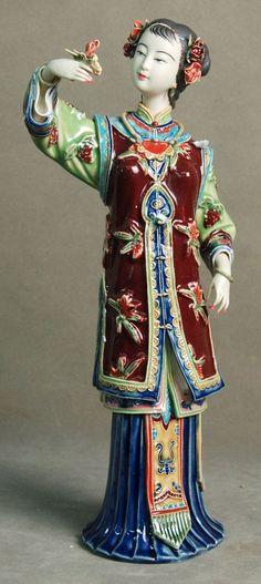 Figurines of intrigue.   Shiwan Ceramic Figure. Artist: Lin Naihe