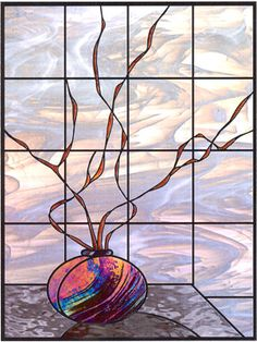 "Beautiful wispy ""clouds"" add elegance to this piece and whatever room you put it in! The grid structure allows the artist to make and reinforce a larger window. Stained Glass Flowers, Stained Glass Designs, Stained Glass Panels, Stained Glass Projects, Stained Glass Patterns, Leaded Glass, Stained Glass Art, Mosaic Glass, Sidelight Windows"
