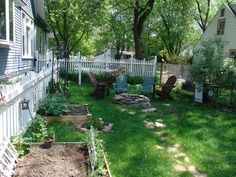 Our back yard including recent addition of raised veggie garden beds