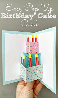 Easy Pop Up Birthday Card DIY - love this DIY Birthday Cake Card - so easy and fun to make. Would be great for as a Wedding Card DIY too! Love.
