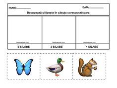Materiale pentru exersarea despartirii în: o silaba, doua silabe, trei silabe si patru silabe. Color si alb-negru. – Catalina Bîrsan Education, Activities, Onderwijs, Learning