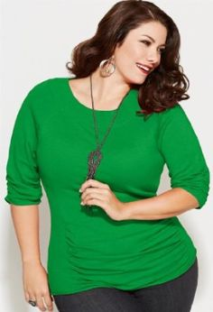 www.iwantobefitnow.tumblr.com/    Avenue Plus Size Shirred Solid Pullover Sweater #Plus Size
