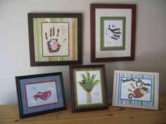 Great way to display children's art...and it's all handprint art.