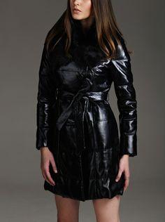 Rabbit Fur Collar Leather Down Jacket