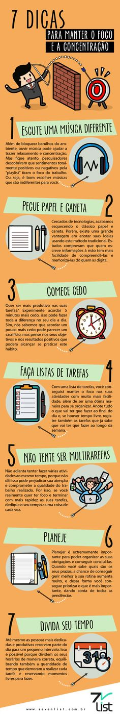 #Infográfico #Infographic #Design #Foco #Concentração #Organização #Música #Playlist #Papelecaneta #Tempo #Dicas #7dicas #Multitarefas www.sevenlist.com.br Experiment, Student Life, Study Motivation, Study Tips, Better Life, Self Improvement, Personal Development, Leadership, Digital Marketing