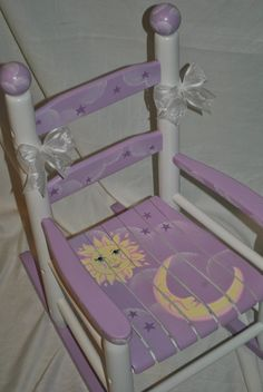 Handpainted Rocking Chair-Kids Rocking Chairs-Rocking Chair-Rocker-Nursery Furniture-Baby Shower-Toddler Gift-Whimsical Pink Butterfly Childrens Custom Hand Painted Girls Lavender Celestial Moon and Stars Rocking Chair Whimsical Painted Furniture, Hand Painted Furniture, Funky Furniture, Nursery Furniture, Paint Furniture, Kids Furniture, Furniture Makeover, Mosaic Furniture, Chair Makeover